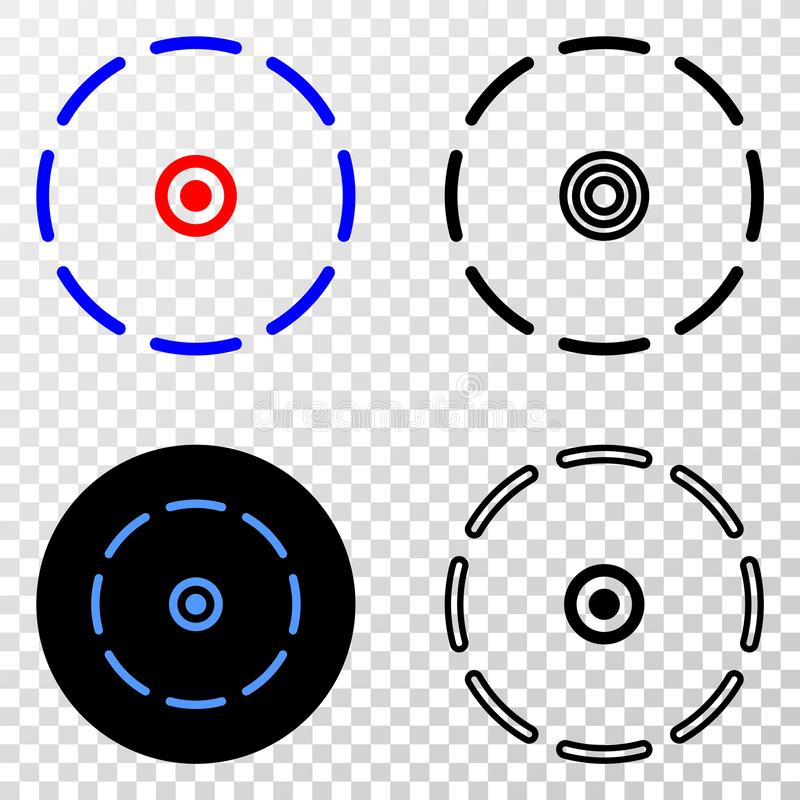 Collage von Gradiented punktierte runden Umkreis und Grunged-Stempel lizenzfreie abbildung