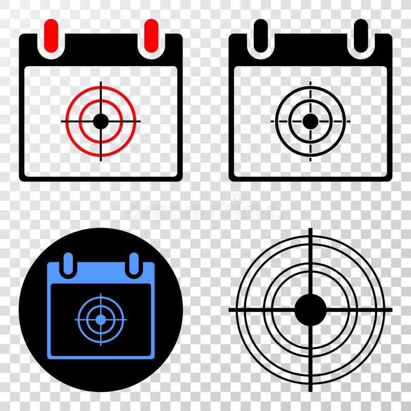 Collage von Gradiented punktierte Ziel-Kalender-Seite und Grunged-Stempel lizenzfreie abbildung
