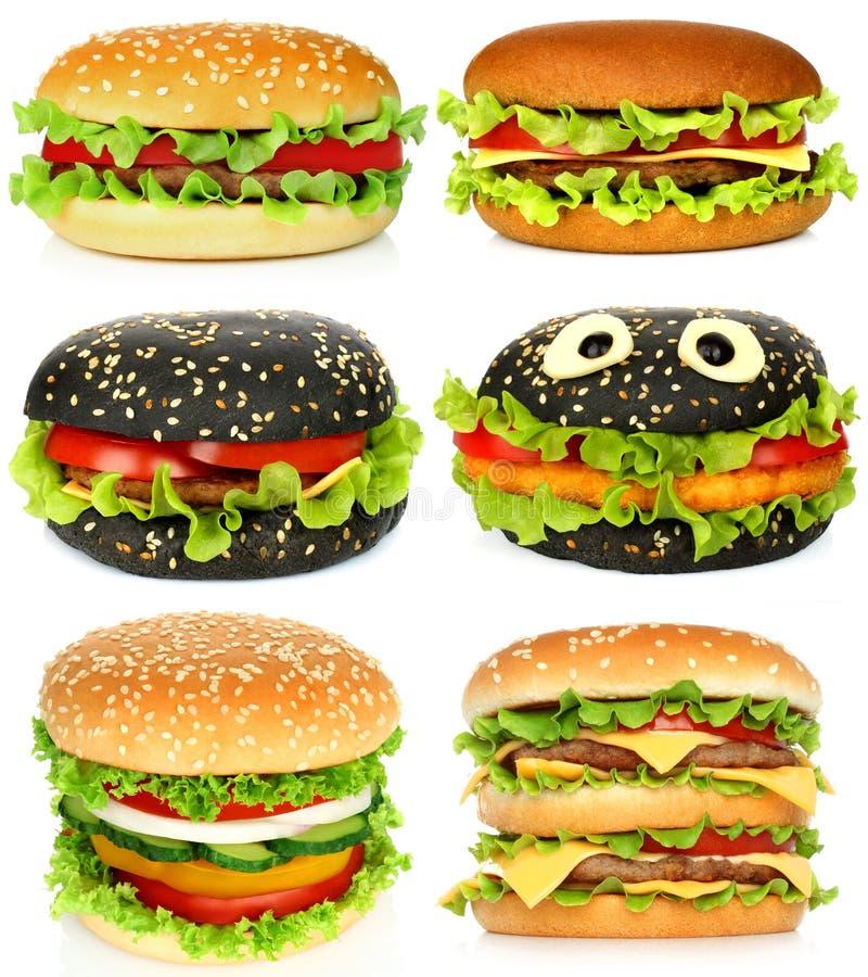 Collage von großen Hamburgern lizenzfreie stockfotos