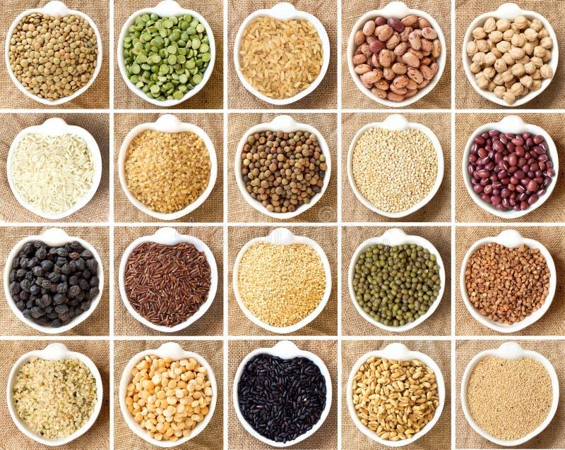 Collage von Hülsenfrüchte und von Getreide lizenzfreie stockbilder