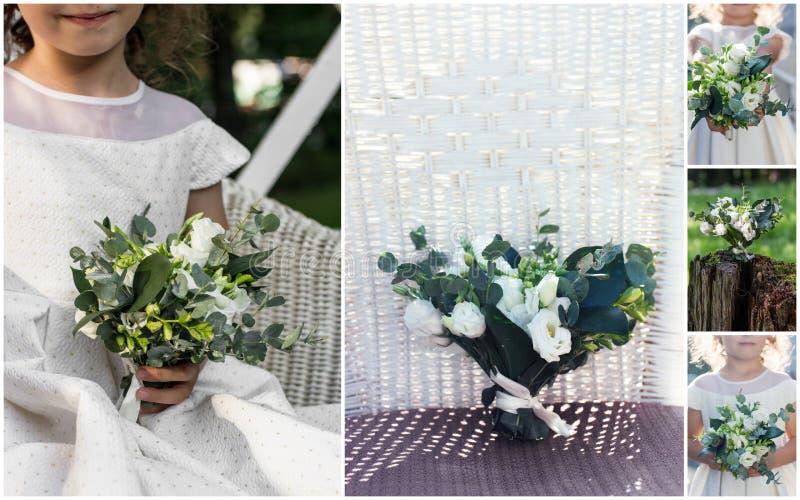 Collage von Hochzeitsbildern - flowergirl und Blumenstrauß von weißen Blumen stockfoto