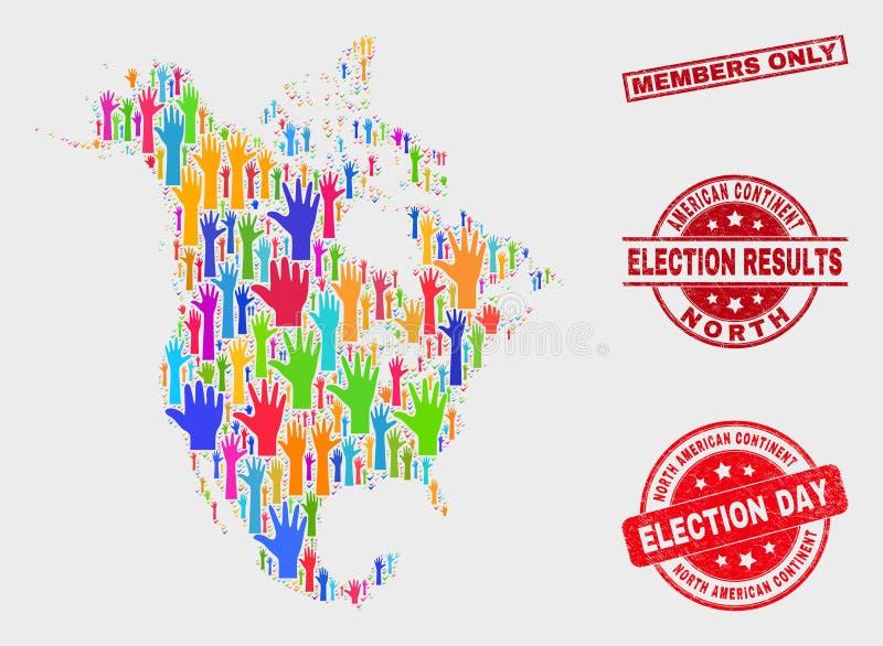 Collage von Karte Wahl-Nordamerikas V2 und Mitgliedsnur beunruhigen Stempelsiegel stock abbildung