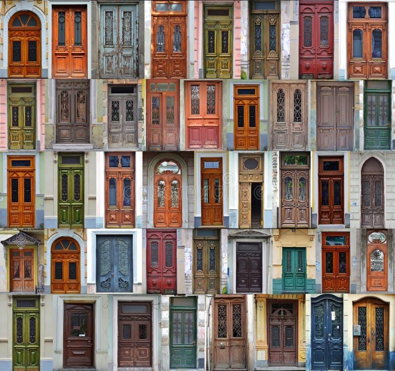Collage von Kiew-Haustüren stockbilder