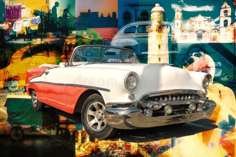 Collage von kubanischen Marksteinen und von typischen Szenen mit einem Oldtimer stockfoto
