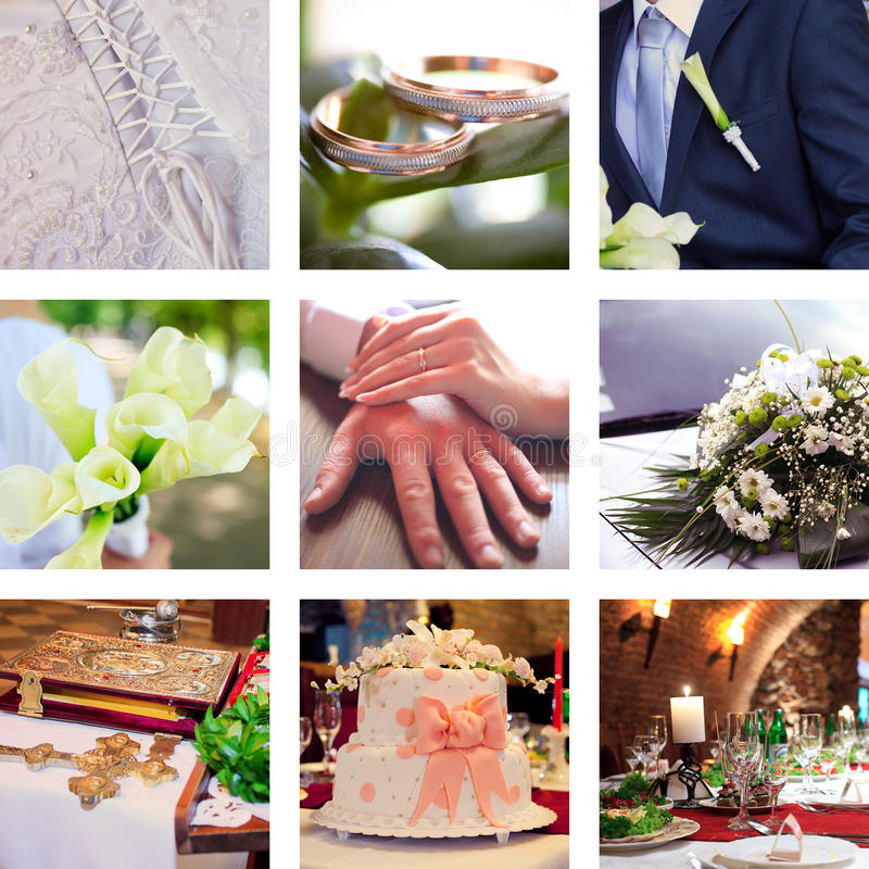 Collage von neun wedding Fotos lizenzfreie stockbilder