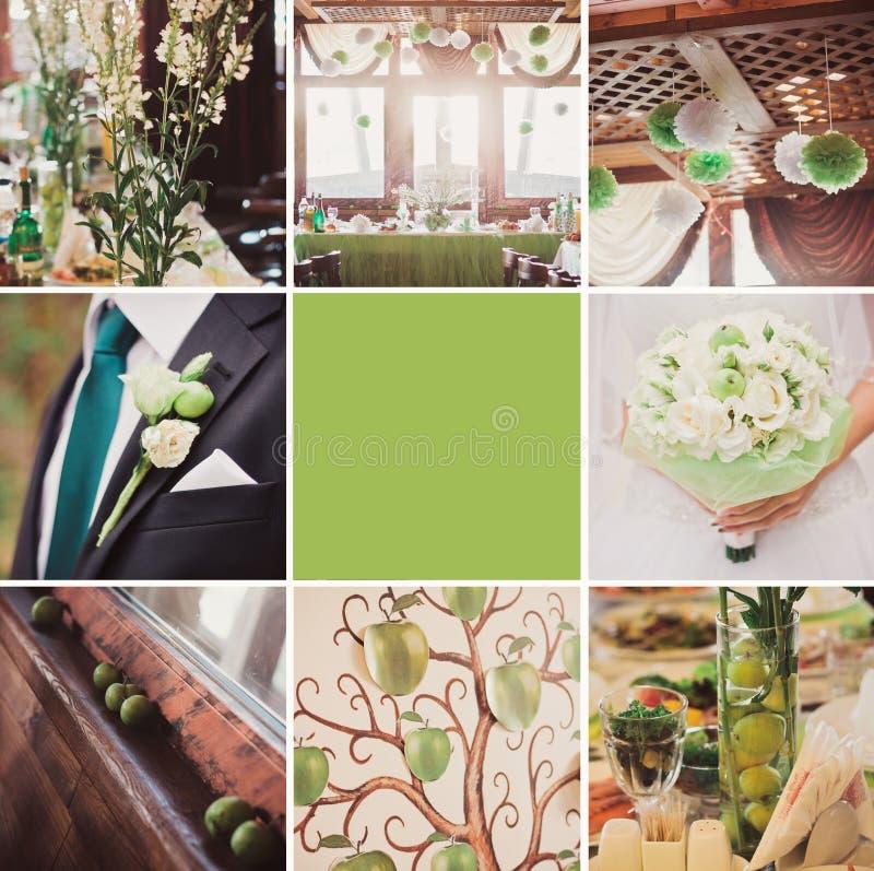 Collage von neun wedding Fotos stockfotografie