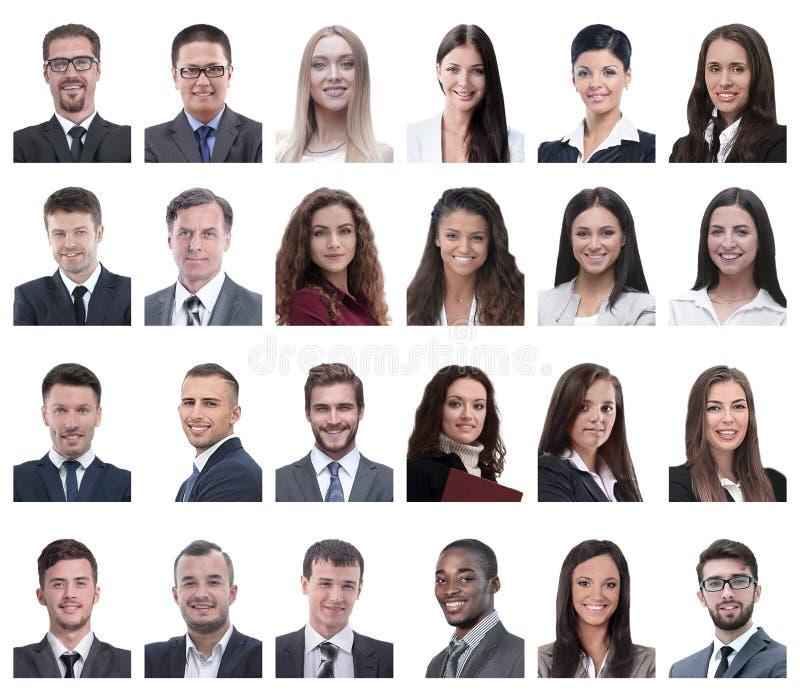 Collage von Porträts von den Geschäftsleuten lokalisiert auf Weiß stockbilder