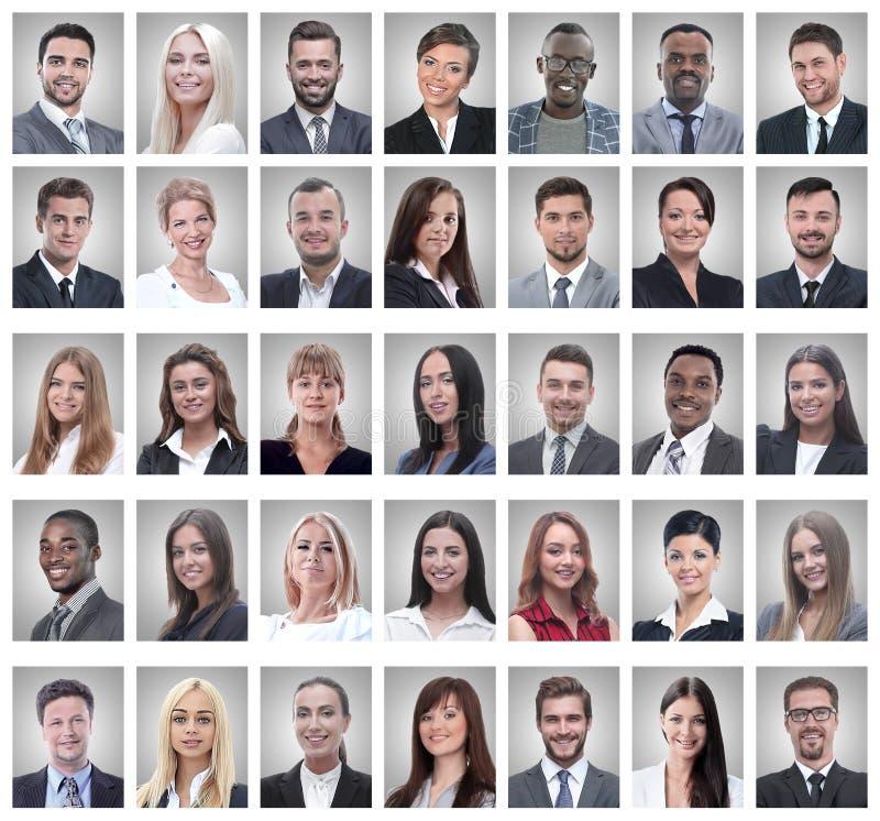 Collage von Portr?ts von erfolgreichen jungen Gesch?ftsm?nnern stockfotos