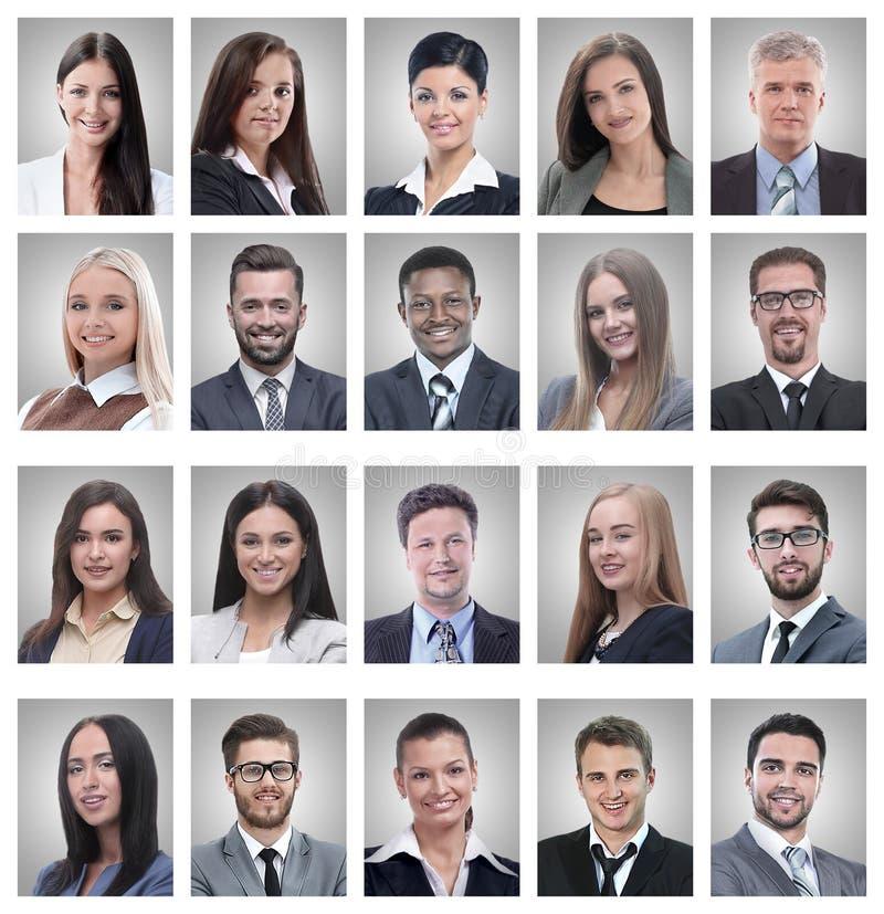 Collage von Portr?ts von erfolgreichen jungen Gesch?ftsm?nnern stockbild