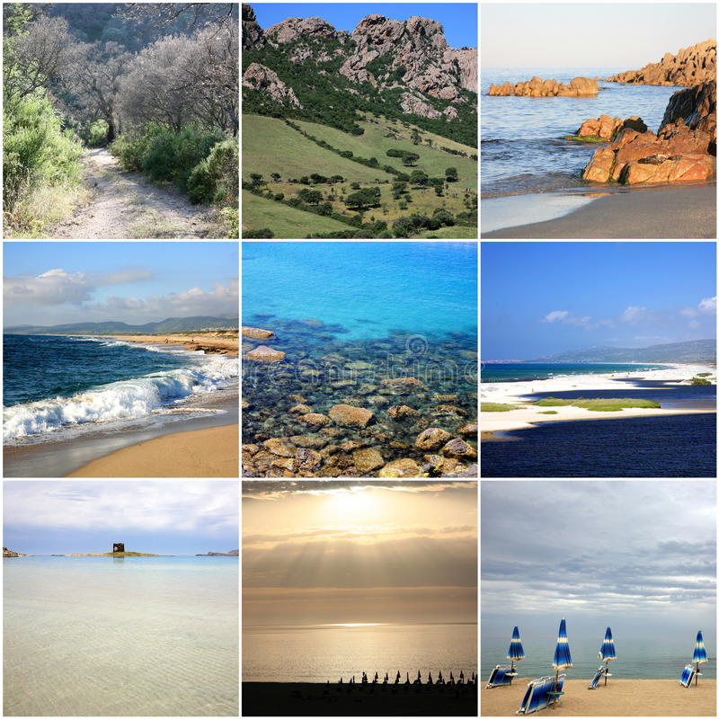 Collage von schönem Sardinien Italien lizenzfreie stockfotos