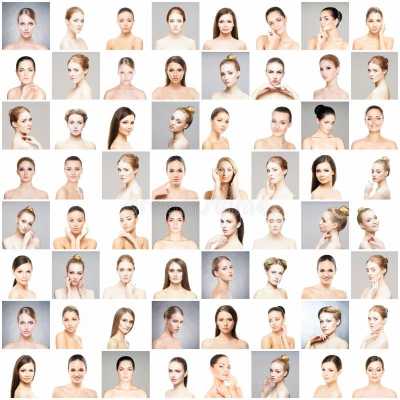Collage von schönen, gesunden und jungen Badekurortfrauporträts Gesichter von verschiedenen Frauen Face lifting, skincare, Plasti stockfotografie