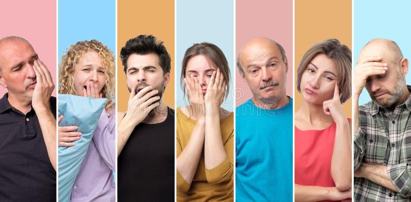 Collage von schläfrigen schläfrigen Männern und von Frauen ermüdend und erschöpft stockbild