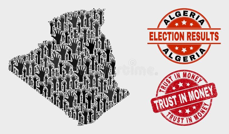 Collage von Stimmzettel-Algerien-Karte und Vertrauen im Geld-Stempel beunruhigen stock abbildung
