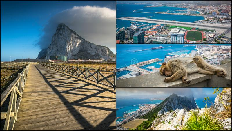 Collage von touristischen Fotos der Insel Gibraltars Briten lizenzfreies stockbild