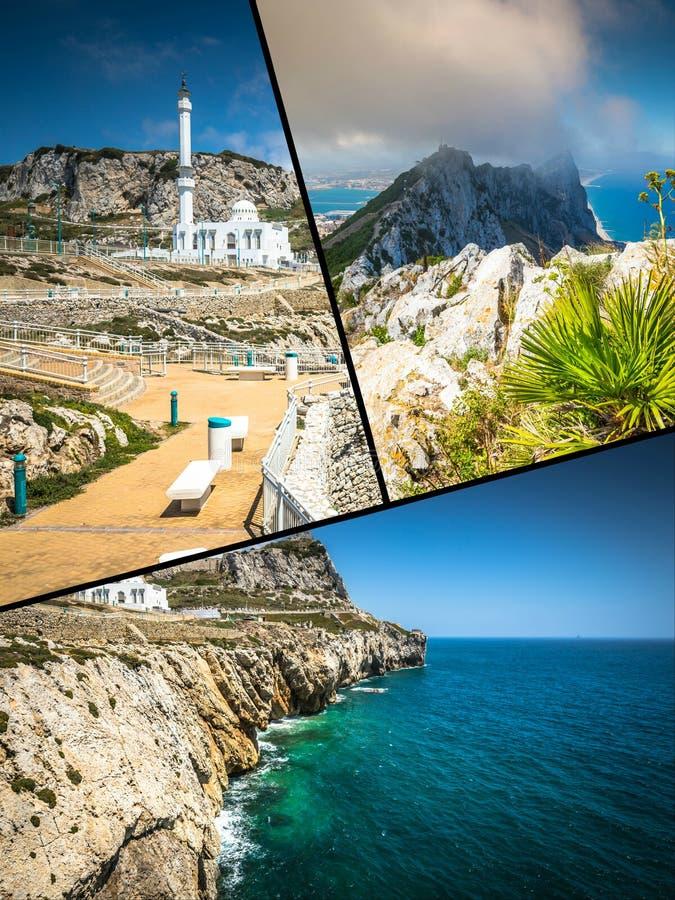 Collage von touristischen Fotos der Insel Gibraltars Briten lizenzfreie stockfotografie