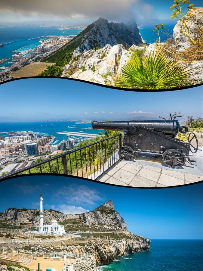 Collage von touristischen Fotos der Insel Gibraltars Briten lizenzfreie stockbilder
