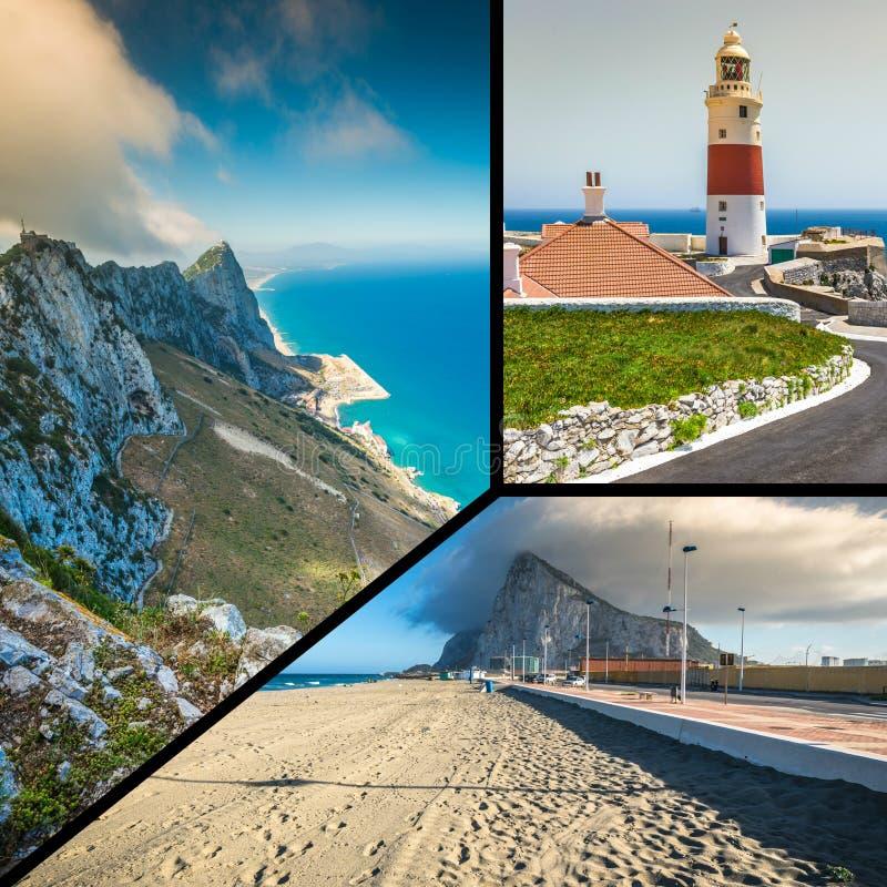 Collage von touristischen Fotos der Insel Gibraltars Briten lizenzfreies stockfoto