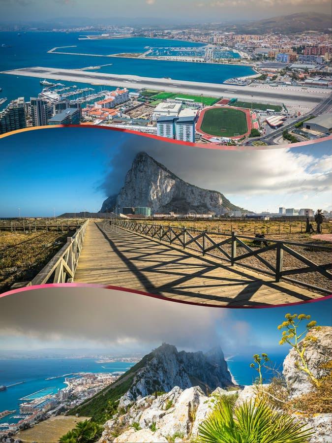Collage von touristischen Fotos der Insel Gibraltars Briten lizenzfreie stockfotos