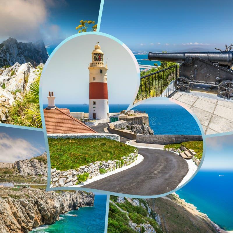 Collage von touristischen Fotos der Insel Gibraltars Briten stockfotos