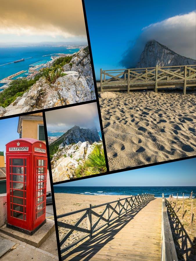 Collage von touristischen Fotos der Insel Gibraltars Briten stockbilder