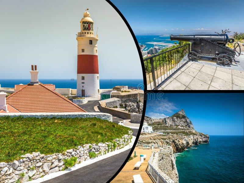 Collage von touristischen Fotos der Insel Gibraltars Briten stockbild