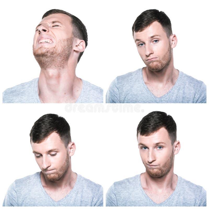 Collage von traurigen, beleidigten, unglücklichen, enttäuschten Gesichtsausdrücken lizenzfreie stockbilder