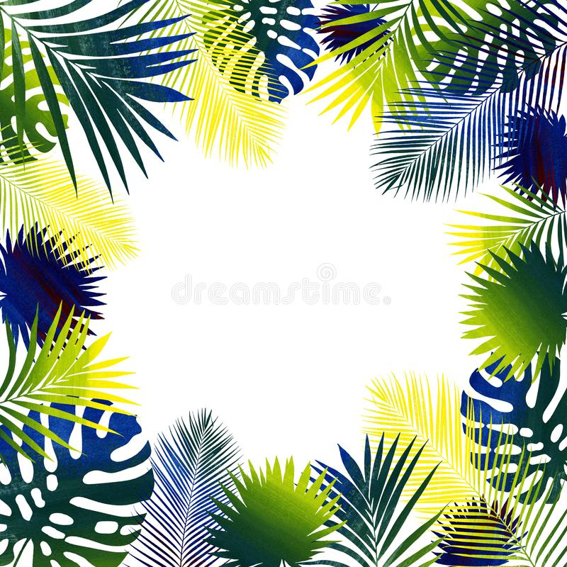 Collage von tropischen Bl?ttern Wei?er Hintergrund stock abbildung