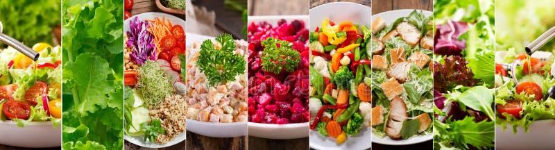 Collage von verschiedenen Arten Platten des Salats lizenzfreie stockbilder