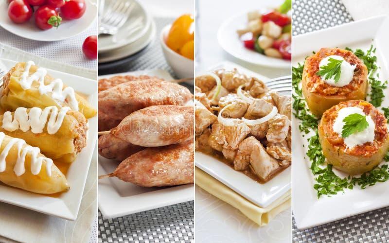 Collage von verschiedenen colofrul Mahlzeiten stockfotos
