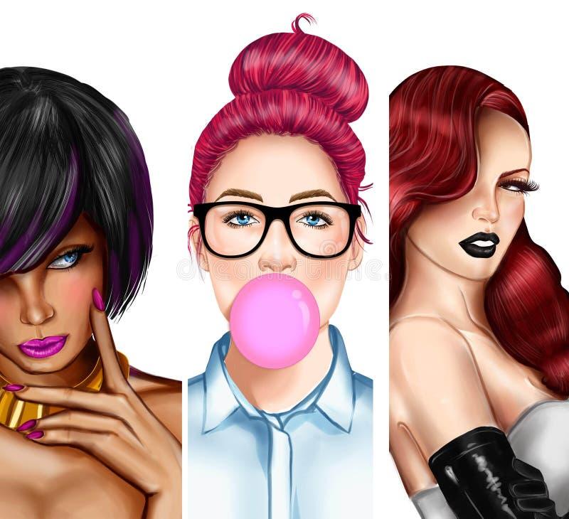 Collage von verschiedenen Illustrationsmädchen - Zusammensetzungsbild - Porträt von Mädchen vektor abbildung