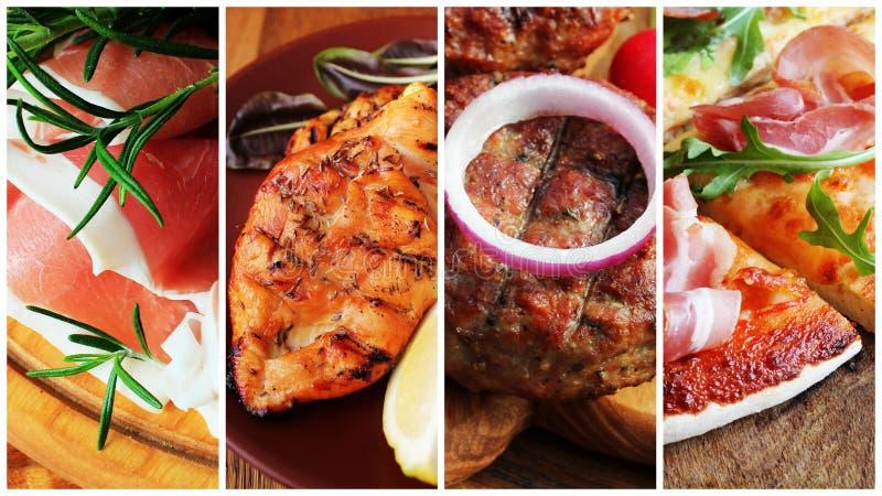Collage von verschiedenen Nahrungsmitteln lizenzfreies stockbild