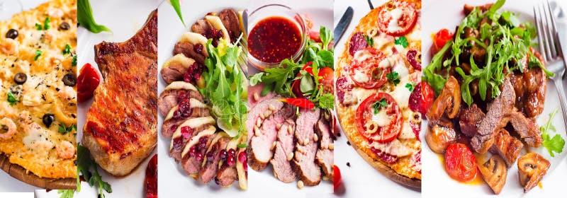 Collage von verschiedenen Nahrungsmitteln stockfotografie