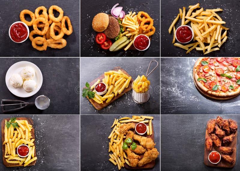 Collage von verschiedenen Schnellimbissprodukten lizenzfreie stockfotos