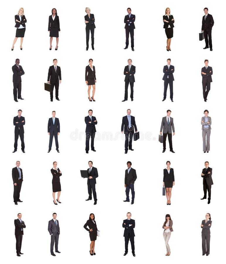 Collage von verschiedenen Wirtschaftlern stockfotografie