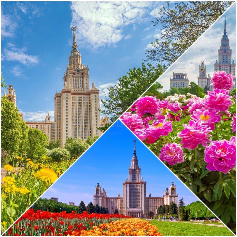 Collage von vibrierenden Ansichten der ber?hmten russischen Universit?t lizenzfreies stockbild