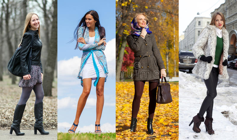 Collage von vier verschiedenen Modellen in der modernen Kleidung für stockfotos