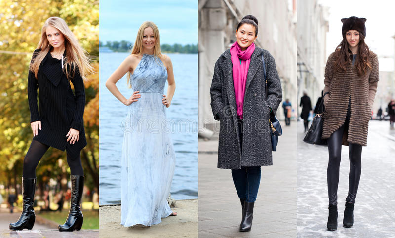 Collage von vier verschiedenen Modellen in der modernen Kleidung für lizenzfreies stockfoto