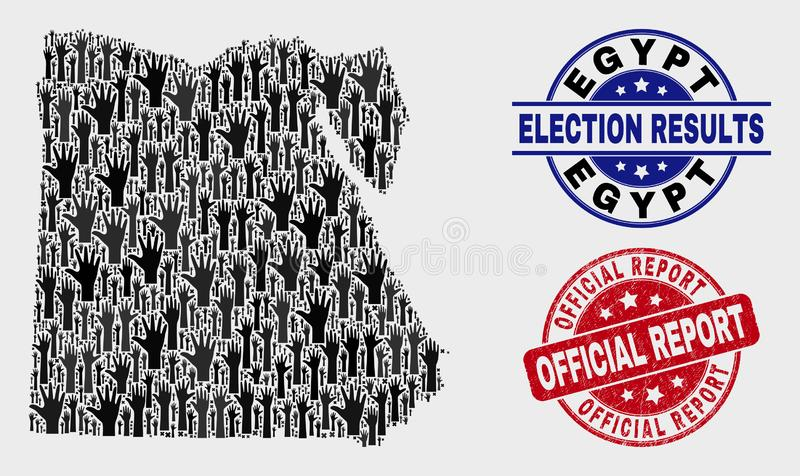 Collage von Wahl-Ägypten-Karte und von Stempelsiegel des Schmutz-offiziellen Berichts lizenzfreie abbildung