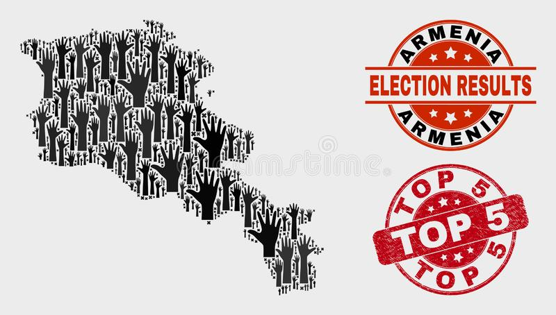 Collage von Wahl-Armenien-Karte und Stempel Top 5 beunruhigen stock abbildung