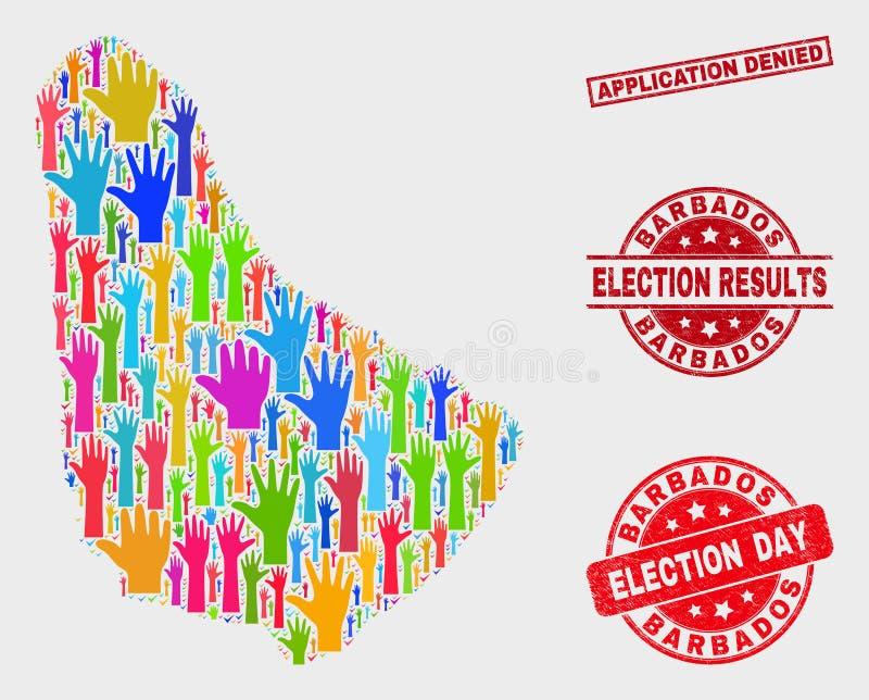 Collage von Wahl-Barbados-Karte und von Schmutz-Anwendung verweigertem Stempel stock abbildung