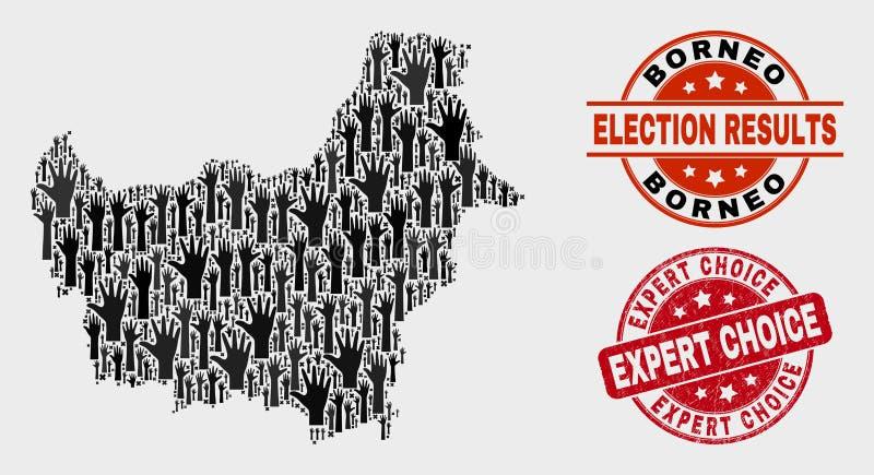 Collage von Wahl-Borneo-Karte und von verkratzter sachverständiger auserlesener Dichtung vektor abbildung