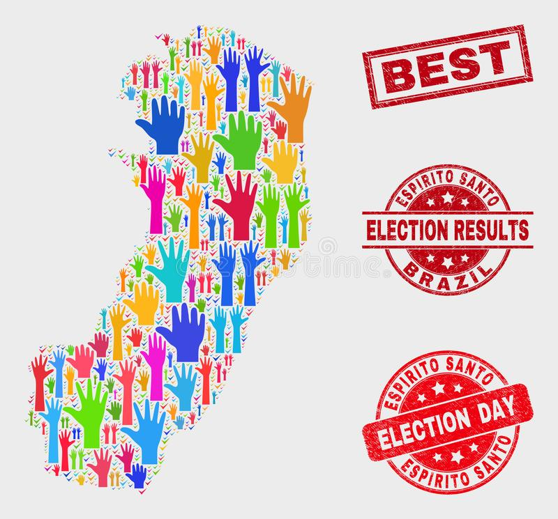 Collage von Wahl-Espirito Santo State Map und von Bedrängnis-bestem Wasserzeichen vektor abbildung