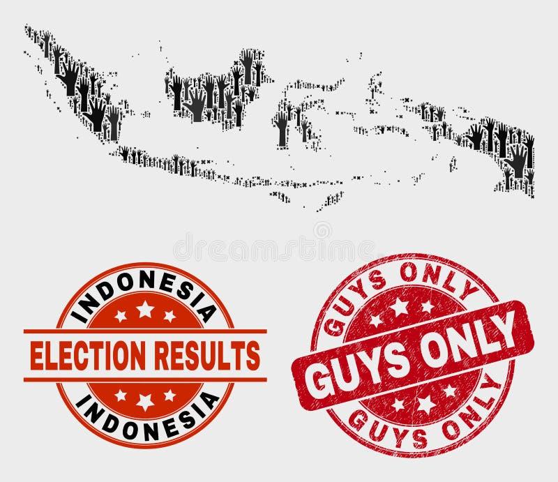 Collage von Wahl-Indonesien-Karten-und -bedrängnis-Kerlen stempeln nur stock abbildung