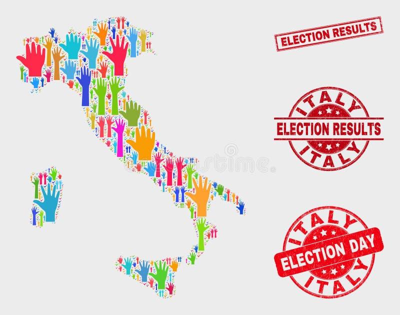 Collage von Wahl-Italien-Karte und von Bedrängnis-Wahlergebnis-Dichtung lizenzfreie abbildung