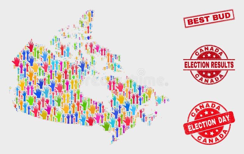 Collage von Wahl-Kanada-Karte und von verkratztem bestem Bud Stamp Seal vektor abbildung