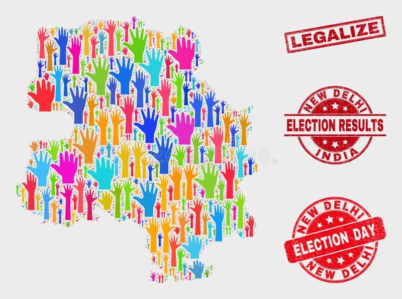 Collage von Wahl-Neu-Delhi Stadtplan und Schmutz legalisiert Wasserzeichen stock abbildung