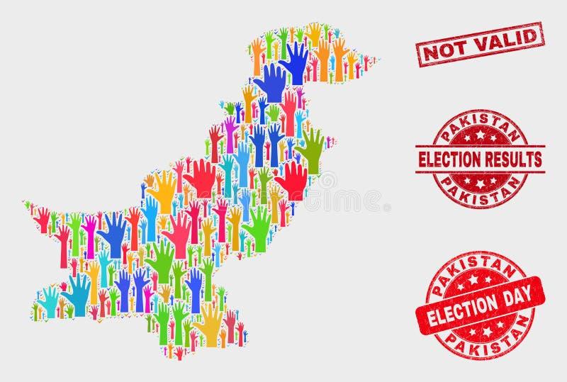 Collage von Wahl-Pakistan-Karte und ungültiges Wasserzeichen beunruhigen lizenzfreie abbildung