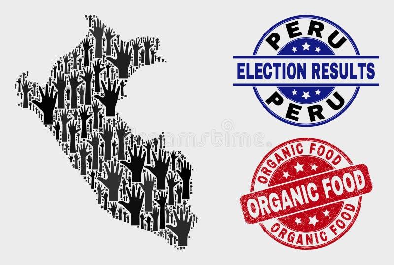 Collage von Wahl-Peru Map und von verkratzter Robbe des biologischen Lebensmittels stock abbildung