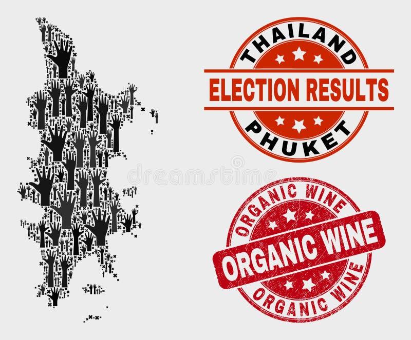 Collage von Wahl Phuket-Karte und von verkratztem organischem Wein-Stempel stock abbildung