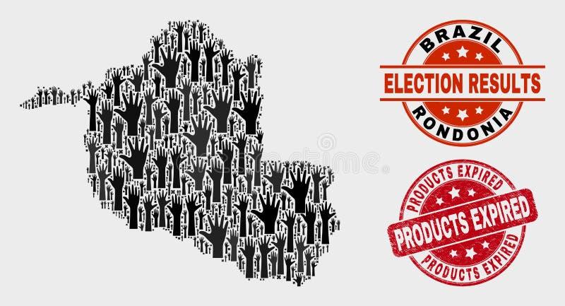Collage von Wahl Rondonia-Zustands-Karten-und Bedrängnis-Produkten lief Wasserzeichen ab stock abbildung